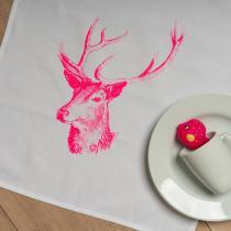 Geschirrtuch Hirsch Neon Pink