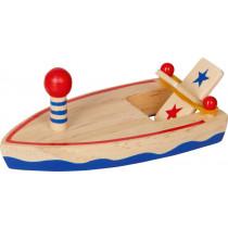 Holzboot mit Gummimotor