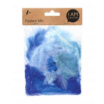 Federn Mix 6-12 cm Blau-Töne