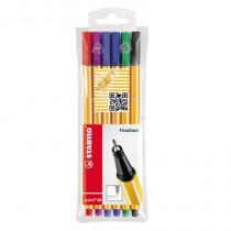 STABILO® Fineliner point 88®, Tamponsystem, 0,4 mm, Schreibfarbe: grün, rot, blau, schwarz, violett, lila, 6 St./Pack.