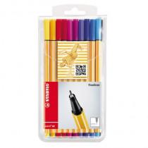 STABILO® Fineliner point 88®, Tamponsystem, 0,4 mm, Schreibfarbe: eisgrün, mittelblau, grün, rot, blau, hellgrün, gelb, braun, schwarz, dunkelrot, türkisblau, orange, violett, pink, hellblau, lila, olivgrün, ocker dunkel, hellgrau und dunkelgrau, 20 St./P