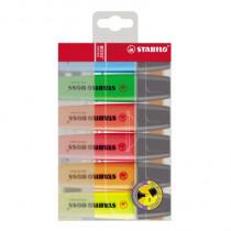 STABILO® Textmarker BOSS®, Keilspitze, 2-5 mm, nachfüllbar, gelb, blau, grün, rot, orange, pink, 6 St./Pack.