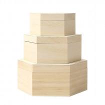 Holzbox sechseckig mit Deckel