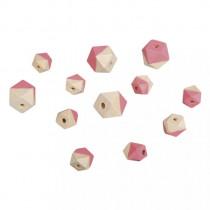 Holzperlen Diamant pink