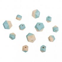 Holzperlen Diamant blau