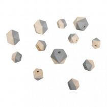 Holzperlen Diamant grau