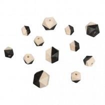 Holzperlen Diamant schwarz