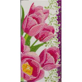 Crystal Art Card Pink Tulips