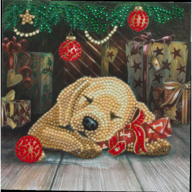 Crystal Art Card Sleepy Puppy